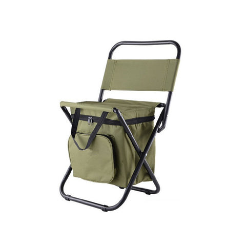 Nadalan Outdoor Folding Chairs Fishing Chair/Portable Camping Stool/Foldable Chair with Double Layer Oxford Fabric Cooler Bag for Fishing/Beach/Camping/House/Outing Arm Green