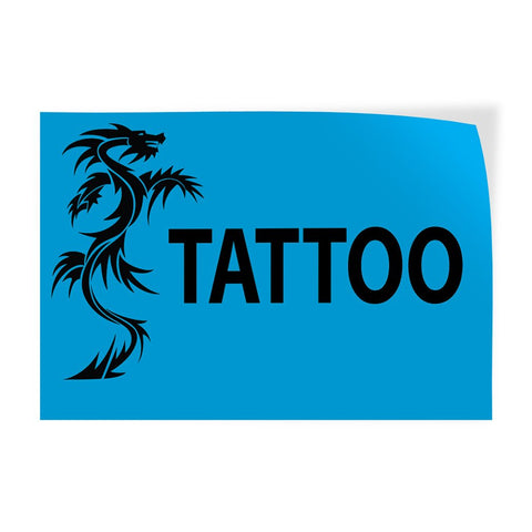 Decal Sticker Multiple Sizes Tattoo #1 Style K Business Tattoo Outdoor Store Sign Blue - 45inx30in, Set of 5