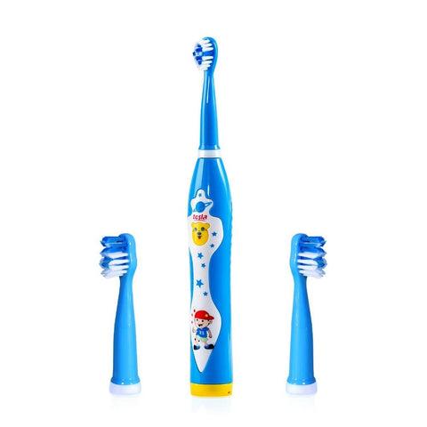 Rechargeable Cartoon Sonic Electric Toothbrush for Kids, Music Fnction,Build-in Timer& 2 Replacement Head(Blue)