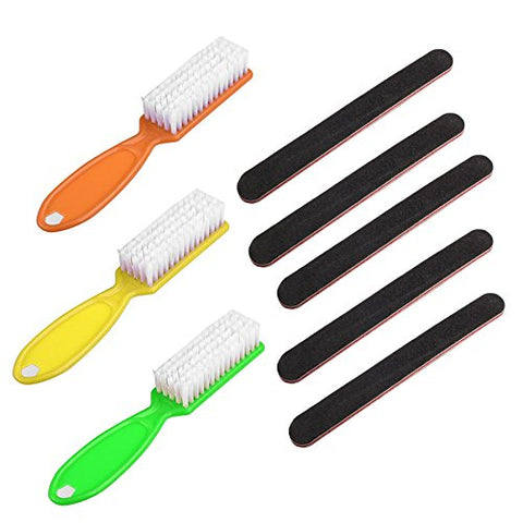Nail Care Emery Board (5-Pack) and Nail Scrub Brushes (3-Pack) - For Manicure Pedicure - Fingernails and Toenails - Say No to Nail Fungus Emery Board and Nail Brush