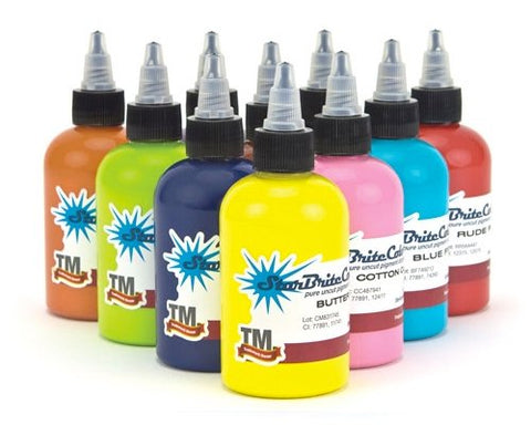 StarBrite Kirt Silver Series Tattoo Ink 10 Bottles - 1 Ounce Bottles