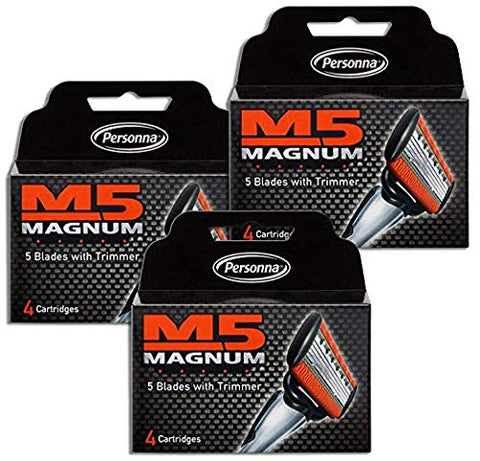 M5 Magnum Razor Blades with Trimmer, 4 Count Refill Blades (3 Pack) 3 PACK