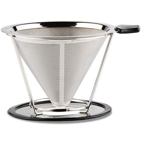 Coffee Cone Dripper Reusable Coated Gold Mesh Pour Over Coffee Filter Paperless&Ecofriendly SUS304 Stainless Steel Filter (Steel, Normal size) Normal Cup