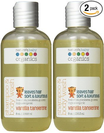Nature's Baby Organics Shampoo & Body Wash, Vanilla Tangerine, 8 oz. Babies, Kids, Adults! Moisturizing, Organic, Soft, Natural, Suave, Hypoallergenic, No Harsh Chemicals Or Parabens, SLS, Glutens 8 oz. (Pack of 2)