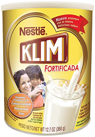Nestle KLIM Fortificada Dry Whole Milk Powder 12.7 oz. Canister 12.7 Ounce