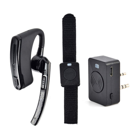 HYS 2 Pin Wireless Earpiece Two Way Radio Bluetooth Headset with PTT for  Kenwood PUXING Baofeng UV-5R UV-5RA 888S Walkie Talkie