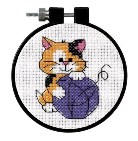 Dimensions Needlecrafts Counted Cross Stitch, Cute Kitty Orange, Brown, White, Calico, Blue