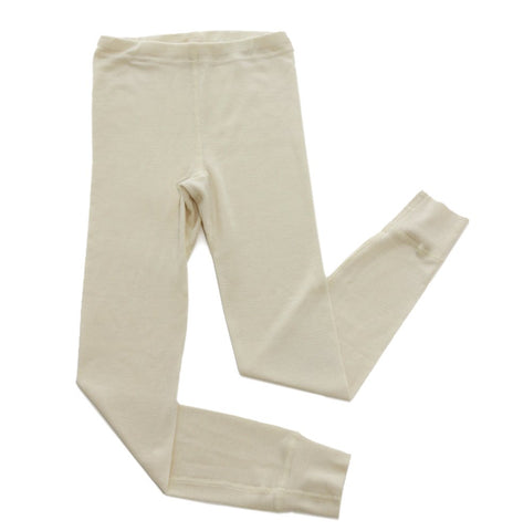 Hocosa Little Kids Organic Wool Long-Underwear Pants 104/4yr(Ht 41 in.) Natural White