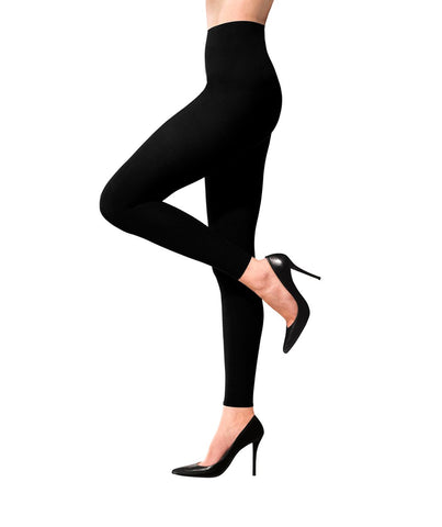 Terramed Advanced Graduated Compression Leggings Women - 20-30 mmhg Footless Microfiber Leggings Tights (Black, Medium) Black