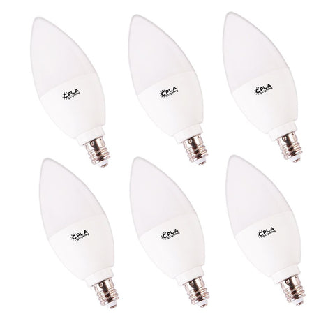 CPLA LED Replacement Chandelier Light Bulbs for Ceiling Fan Decorative Candle Chandelier No Flicker 4000K Bright Natural White E12 Screw Base LED Light Frosted Bulbs 5W Non-Dimmable, Pack of 6