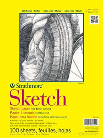 Strathmore ((350-9 300 Series Sketch Pad, 9 x12 , 100 Sheets 1