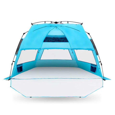 Cocorika X-Large Easy Setup Beach Tent - Automatic Pop up 4 Person Instant Sun Shelter, Portable Sunshade X-Large w/ Porch