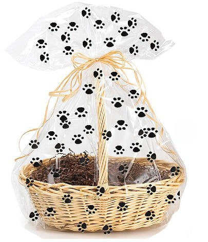 CakeSupplyShop Exclusive Item#20577 -5pack Dog Paw Cat Paw Animal Paw Print Large (25inchx 30inch) Cello/cellophane Bags Gift Basket Packaging Bags