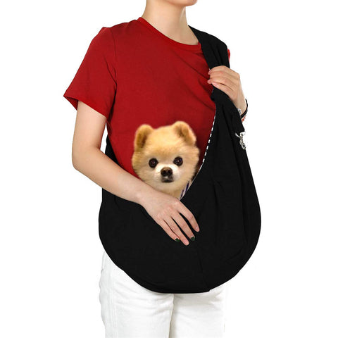 Bestobal Dog Sling Carrier Pet Sling for Small Dogs Cats Puppy and Animals up to 10 Lbs, Comfortable Dog Travel Shoulder Bag, Hands Free, Machine Washable Black