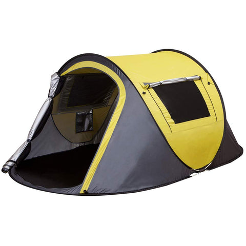 XINQIU 2 Persons Waterproof Camping Tent, Automatic Pop Up Tent for Outdoor, Hiking, Traveling, Backpacking (Yellow)