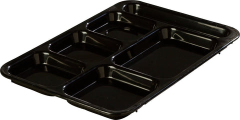 "Carlisle 614R03 ABS Right-Hand 6-Compartment Divided Tray, 14"" X 10"", Black (Pack of 24)"