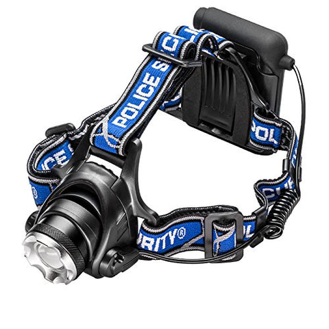 Police Security Elite Blackout Headlamp - T6 LED - 615 Lumen - 7 Hour Battery Life - Camping, Walking, Fishing - Weather Resistant - Strong and Durable - High/Low/Flash