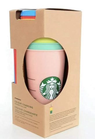Starbucks Reusable COLOR CHANGING Cold Cup Collection Pack Of 5 W/Lids Straws 24 oz Summer 2019