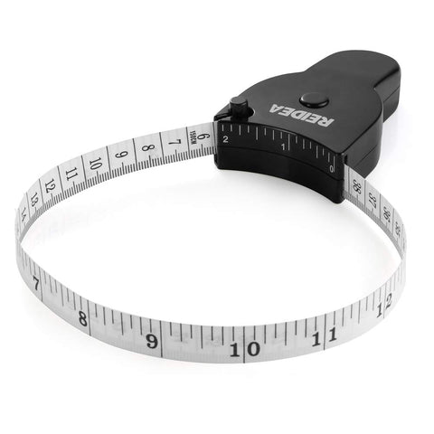 Body Measure Tape 60inch (150cm), Lock Pin and Push-Button Retract, Ergnomic and Portable Design, Black. 1 Pack