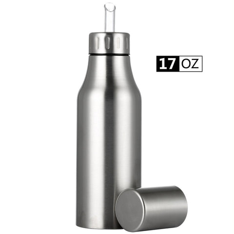 Oil Dispenser Bottle,Stainless Steel Olive Oil/Vinegar/Sauce Dispenser Cruet with No Drip Pouring Spout,Durable Oil Pourer Bottles Olive Oil Container Pot Perfect for Kitchen & BBQ,17 oz/500ML 500ML