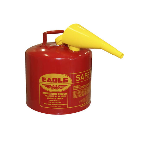 Eagle UI-50-FS Red Galvanized Steel Type I Gasoline Safety Can with Funnel, 5 Gallon Capacity, 13.5 in Height, 12.5 in Diameter