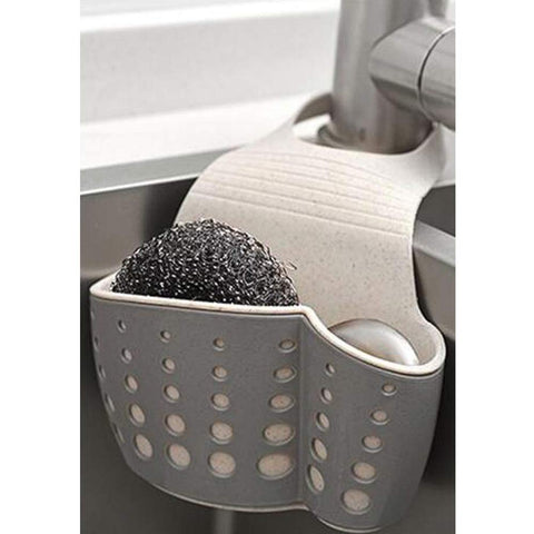 TuuTyss Wheat Straw Hanging Ajustable Strap Sponge Holder Sink Caddy for Kitchen,Grey grey-wheat straw