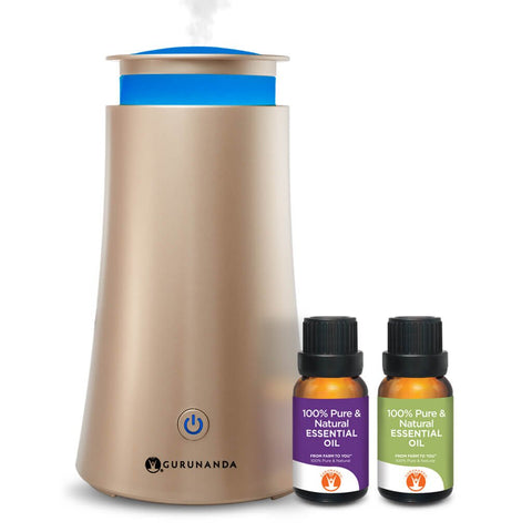Oil Diffuser Humidifier - Gold Tower - GuruNanda Essential Oil Diffuser Kit - Aromatherapy Essential Oil Diffuser - LED Lights - Bonus Essential Oils - Perfect Starter Kit or Gift Set - 6 Hr Run Time Gold Kit