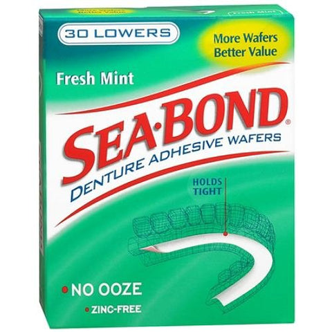 SEA-BOND Denture Adhesive Wafers Lowers Fresh Mint 30 Each (Pack of 4) Pack of 4