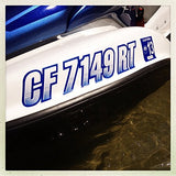 STIFFIE Techtron Sky Blue/Purple 3  Alpha-Numeric Registration Identification Numbers Stickers Decals for Boats & Personal Watercraft