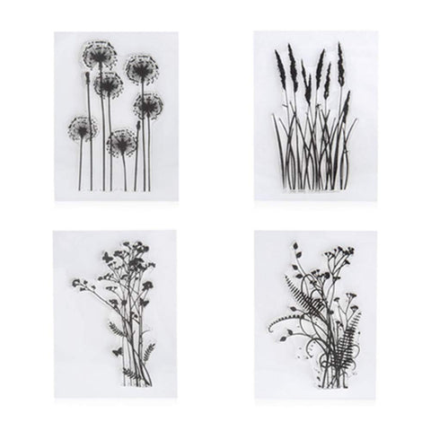 4pcs/Lot Dandelion Lavender Flowers Leaves Stamp Rubber Clear Stamp/Seal Scrapbook/Photo Album Decorative Card Making Clear Stamps