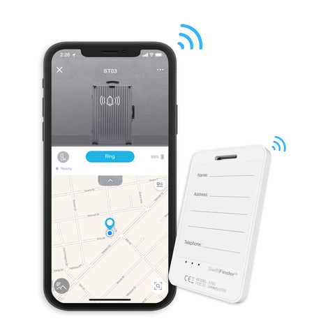 SwiftFinder Smart Luggage Tag, Bluetooth Smart Tracker and Phone Finder with 4-Year Battery Life, Finder and Locator with Baggage-Arrival-Notification with Free App Support for iPhone, Android Phone White