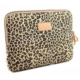 BagsFromUs Lisen Canvas Fabric Stylish Leopard's Spots Leopard Print Style 7-15.6 Inch Laptop Sleeve Computer Protective Carrying Case Bag Cover for iPad/MacBook/Dell/HP/Lenovo/Sony/Toshiba/Acer etc. Yellow 15.6 inch
