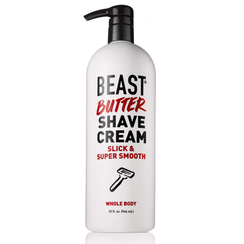 Beast Butter Whole Body Shave Cream - Organic Aloe, Gentle Oats, Ginseng, Vitamins - Super Smooth Slick Foamless - Shaving Lotion Face Head Body Butt Balls Legs Mens Womens - Tame the Beast (32 oz) 32 oz