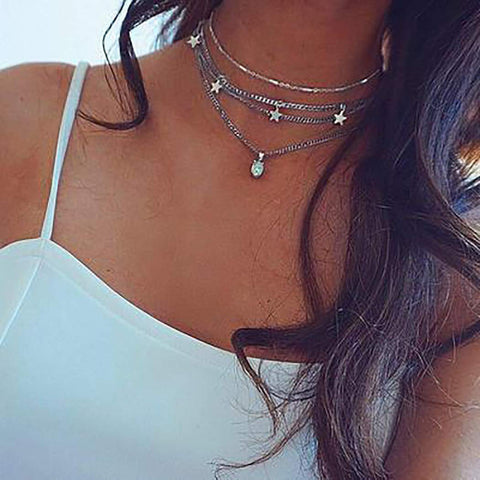 Leiothrix Choker Layered Necklace Stars Opal Pendant Boho Chains Jewelry for Women and Girls Silver