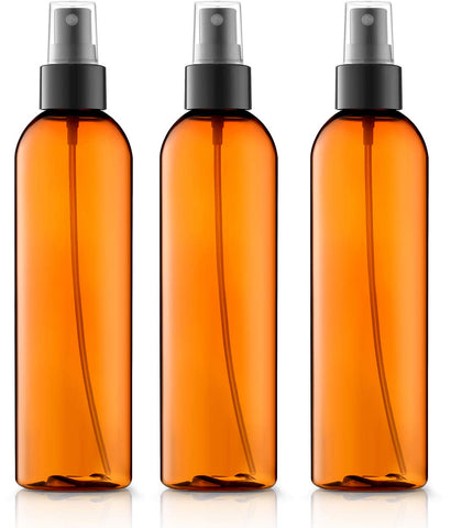 8 oz Fine Mist Light Amber Spray Bottles, 3 Pack