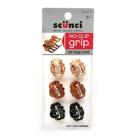 Scunci No-Slip Grip Mini Octopus Jaw Clips 6 ea (Pack of 2) Pack of 2