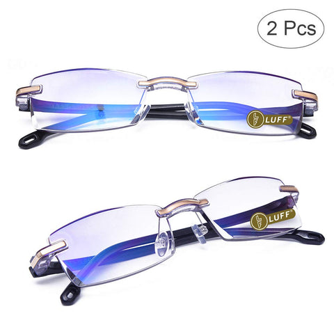LUFF Premium Computer Reading Glasses Blue Light Blocking Diamond Cut Edge Design Spectacle Readers for Men(+2.0) 2.0x