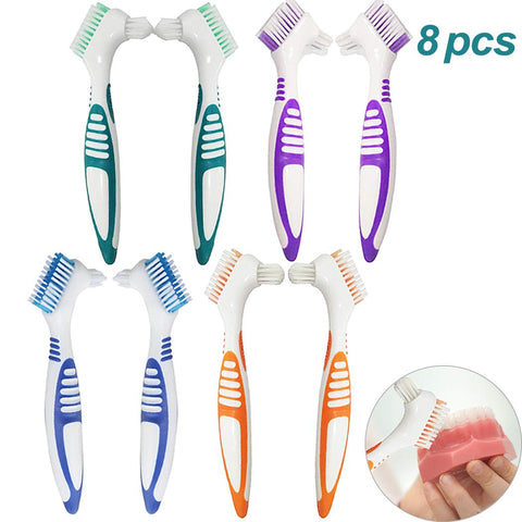 8Pcs Denture Cleaning Brush Set, Hatisan Premium Hygiene Denture Cleaner Set for Denture Care - Multi-Layered Bristles & Ergonomic Rubber Handle(4 Colors) 8 Pcs