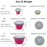 m square Collapsible Food Grade Silicone Bowls with Lids, BPA-Free, Camping, Traveling, Pets, Hiking, Backpacking Bowl (3 pcs set Rose)