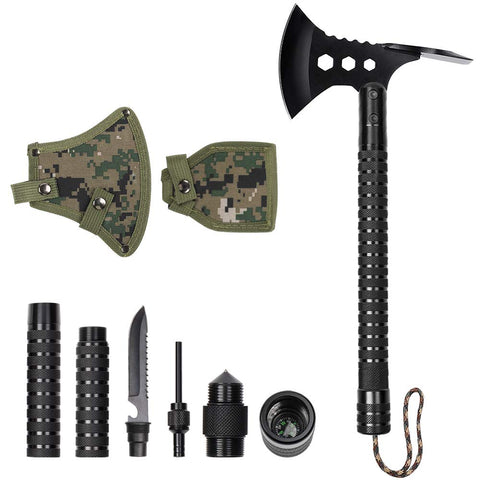 LIANTRAL Survival Camp Axe Tactical Hatchet with Sheath Multitool Axe Set for Outdoor Activities Axe+Hoe