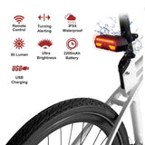 Bike Tail Light with Turn Signals - Ultra Bright Bike Rear Light, Wireless Remote Control USB Rechargeable Bicycle Taillight, Safety Warning Bike Brake Lights and Flashing Lights, Easy Installation