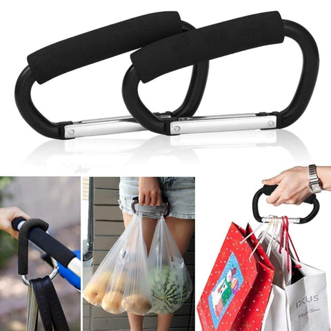 Grocery Bag Holder Handle Carrier Tool, 2 Pack Extra-large D-Shape Super-handy Snap Hook Hanger, Mommy Hook Carry Handle With Soft Foam Grip