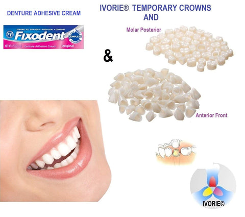 Temporary Teeth Crowns and Denture Adhesive Cream (Posterior Molar Teeth) Posterior Molar Teeth