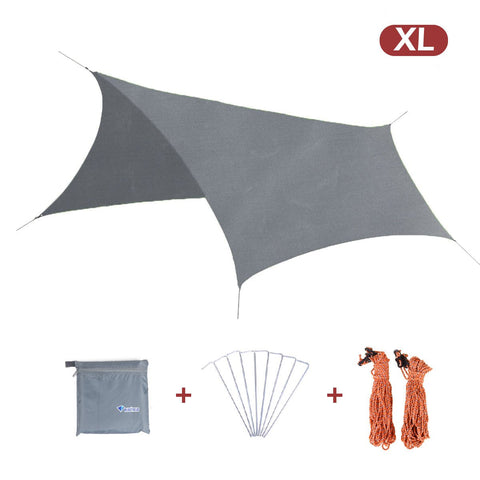 TRIWONDER Waterproof Hexagonal Hammock Rain Fly Tent Tarp Footprint Ground Cloth Camping Shelter Sunshade Beach Picnic Mat for Hiking Picnic Grey+Accessories - XL