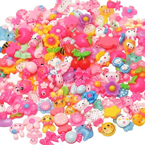 LibiIine 100pcs Mix Lots Flatback Resin Buttons Flat back Scrapbooking Resin Flatback Craft