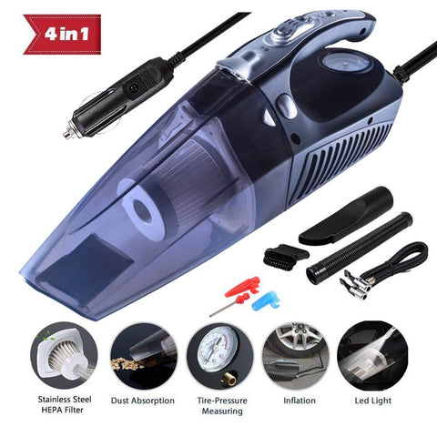 Car Vacuum Cleaner, 4 in 1 Multifunctional High Power 12V 120W Air Compressor Tire inflator Handheld Car Vacuum Cleaner, Lightweight Wet Dry Vacuum for Home Pet Hair Car Cleaning