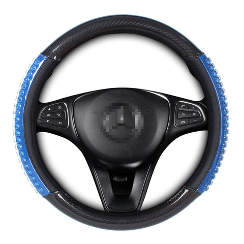 Durable Silica Gel Car Steering Wheel Cover Black & Blue Universal Fit Comfort Grip of 15 Inches …