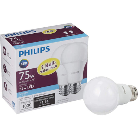 Philips 75W Equivalent Daylight A19 LED Light Bulb (2-Pack)