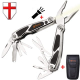 Grand Way 2611 Pocket Multitool with Flashlight and Knife - Best Swiss Army Knife and Multifunctional Tool with Scissors and Screwdriver - Black Multi-tool for Home, Survival and Outdoor Activities 15 Features
