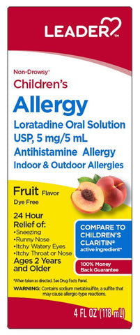 Leader Children's Allergy Loratadine Liquid, 4oz. Per Bottle